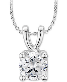 "GIA Certified Diamond Solitaire 18"" Pendant Necklace (1 ct. t.w.) in 14k White Gold"