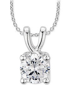"""GIA Certified Diamond Solitaire 18"""" Pendant Necklace (1 ct. t.w.) in 14k White Gold"""