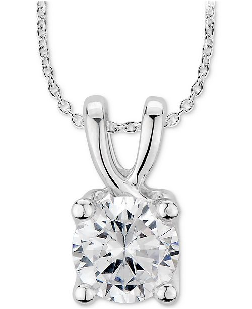"Macy's GIA Certified Diamond Solitaire 18"" Pendant Necklace (1 ct. t.w.) in 14k White Gold"