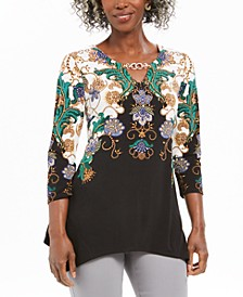 Printed Embellished-Keyhole Top, Created For Macy's