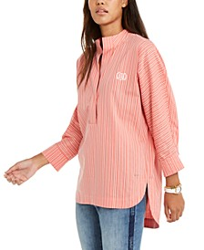 Cotton High-Low Stand-Collar Top, Created For Macy's