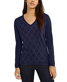 Studded Argyle Cotton Sweater, Created For Macy's
