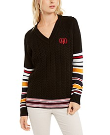 Varsity Stripe Cable-Knit Sweater, Created For Macy's