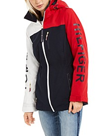 Colorblocked Hooded Logo Rain Jacket
