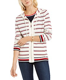 Striped Zip-Front Cotton Hooded Top, Created for Macy's