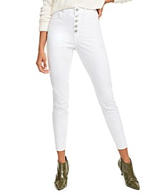 Juniors' High-Rise White Wash Skinny Jeans