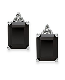Black Onyx (8 x 10 mm) and White Topaz Accent Stud Earrings in Sterling Silver