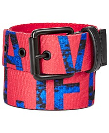 Big Boys Printed-Logo Flat-Strap Belt
