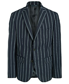 Big Boys Classic-Fit Stretch Navy Blue Stripe Sport Coat