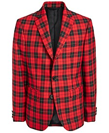 Big Boys Classic-Fit Red/Black Tartan Sport Coat