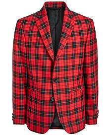 로렌 랄프로렌 보이즈 코트 Lauren Ralph Lauren Big Boys Classic-Fit Red/Black Tartan Sport Coat,Red