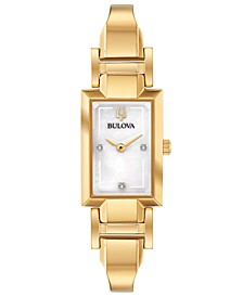 Women's Diamond-Accent Gold-Tone Stainless Steel Bangle Bracelet Watch 18x33mm