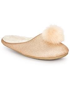 INC Women's Glitter Pom-Pom Scuff Slippers, Created For Macy's