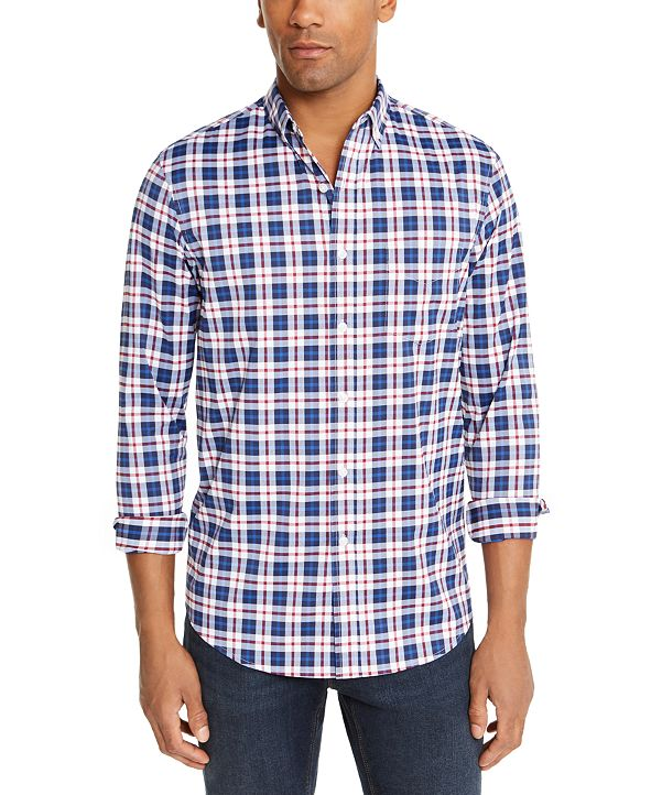 Club Room Men's Regular-Fit Performance Stretch Plaid Shirt, Created for Macy's
