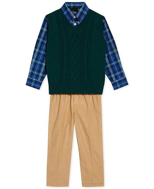 TFW Little Boys 3-Pc. Cable-Knit Sweater Vest, Plaid Shirt & Corduroy Pants Set