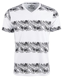 Men's Tropical Palm Stripe Graphic V-Neck T-Shirt, Created For Macy's