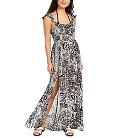 Printed Smocked Cover-Up Maxi Dress