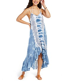 Tie-Dye Crochet-Trim High-Low Cover-Up Dress