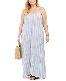 Plus Size Sleeveless Striped Cotton Cover-Up Maxi Dress