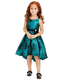 Little Girls Glitter-Print High-Low Dress