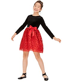 Big Girls Embellished Velvet Bow Dress