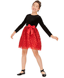 Rare Editions Big Girls Embellished Velvet Bow Dress