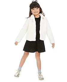Little Girls Faux-Fur Jacket & Velvet Dress, Created For Macy's