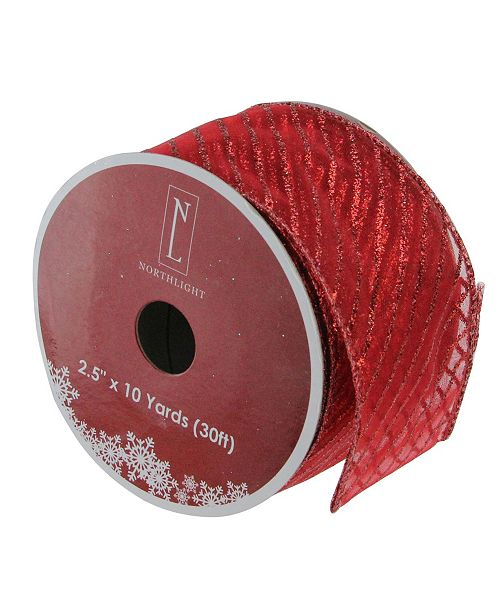 "Northlight Pack of 12 Red Wired Christmas Craft Ribbon Spools - 2.5"" x 120 Yards Total"