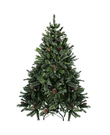 6.5' Snowy Delta Pine with Pine Cones Artificial Christmas Tree - Unlit
