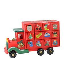 "14"" Children's Advent Calendar Red Storage Truck Christmas Decoration"