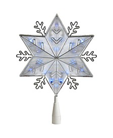 Silver-Tone 6-Point Snowflake Christmas Tree Topper - Blue Lights