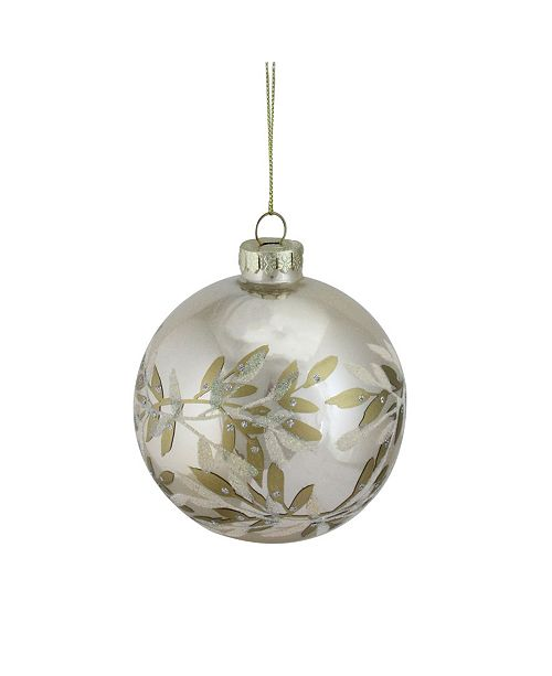 Northlight Champagne Gold-Tone Glass Ball Christmas ornament 100mm