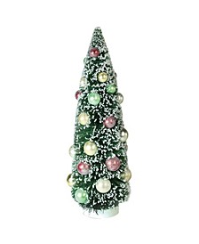 """15"""" Frosted Green Sisal Pine Artificial Christmas Table Top Tree"""