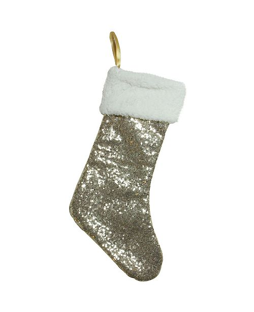 """Northlight 18"""" Gold Sequined Stocking with White Cuff"""