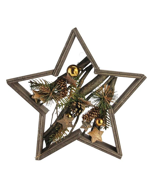 Northlight Decorated Mixed Branches in Star Wood Frame Christmas Table or Wall Decoration