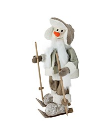 "16"" White and Brown Ice Skating Snowman Christmas Decoration"