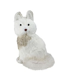 """10"""" Gilded White Christmas Golden Sitting Fox Table Top Figure Decoration"""