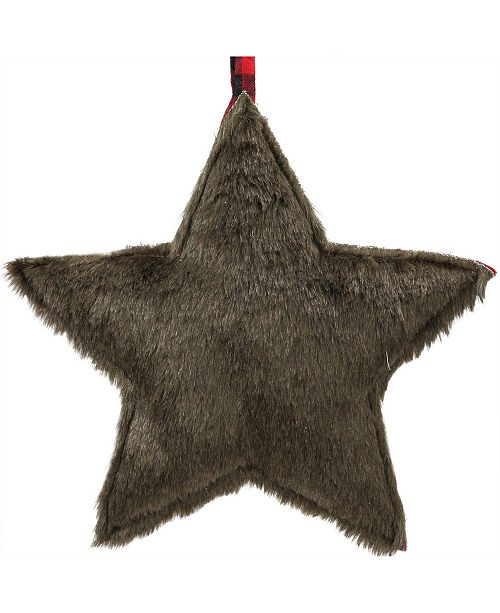 """Northlight 11.25"""" Brown Faux Fur Star Christmas Ornament Decoration"""