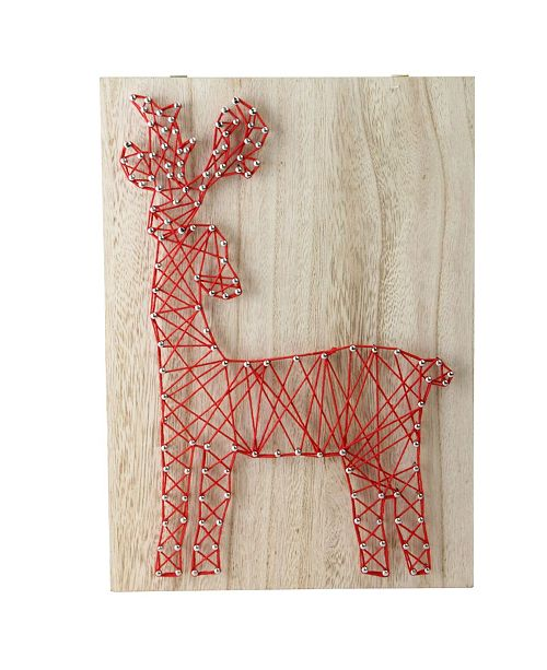 """Northlight 11""""Crazy String Natural Finished Wood and Ruby Red String Reindeer Wall Decoration"""