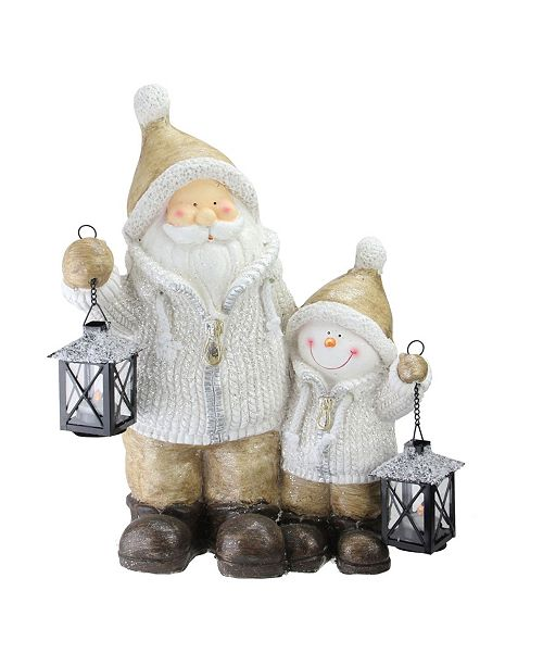 Northlight Santa and Snowman with Lanterns Christmas Decoration