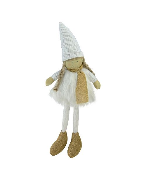 """Northlight 13"""" Gold and White Standing Girl with Hat Scarf with Faux Fur Tabletop Decoration"""