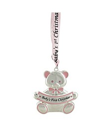 "3"" Pink Teddy Bear Baby's First Christmas Silver Plated Christmas Ornament"