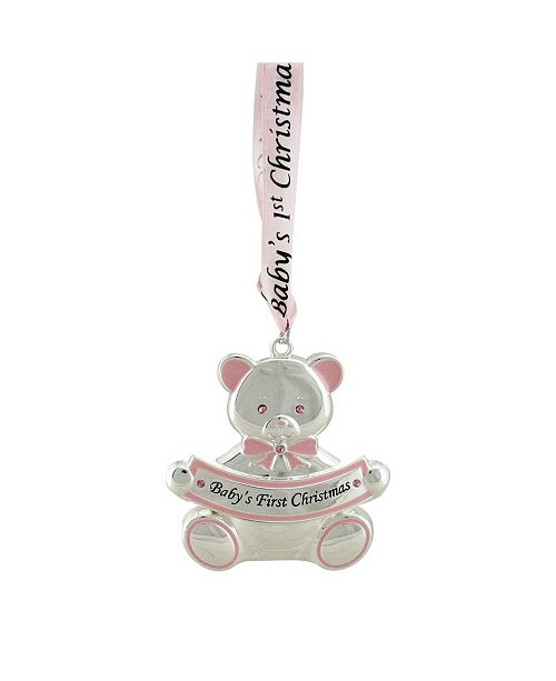 """Northlight 3"""" Pink Teddy Bear Baby's First Christmas Silver Plated Christmas Ornament"""