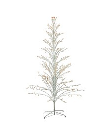 White Lighted Christmas Cascade Twig Tree Outdoor Decoration - Clear Lights
