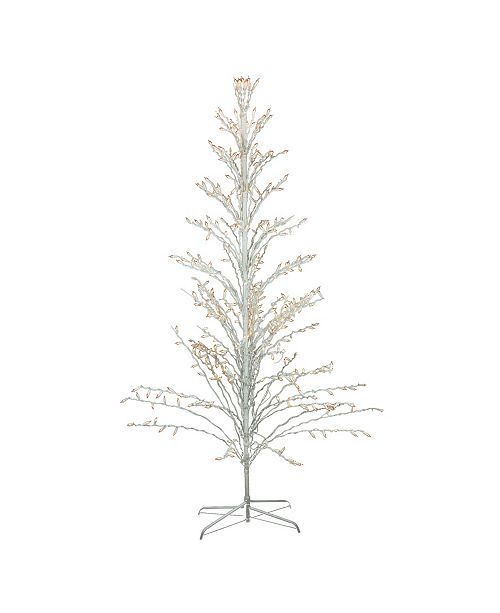 Northlight 6' White Lighted Christmas Cascade Twig Tree Outdoor Decoration - Clear Lights
