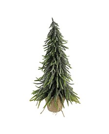 "19"" Silver Glitter Weeping Mini Pine Christmas Tree in Burlap Covered Vase"