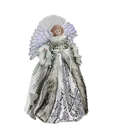 Lighted Fiber Optic Angel in Silver-Tone Gingham Coat Christmas Tree Topper