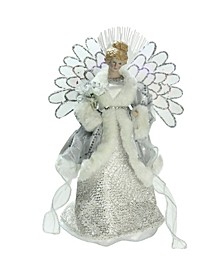 1 Lighted Fiber Optic Angel in Silver-Tone Gray Gown Christmas Tree Topper