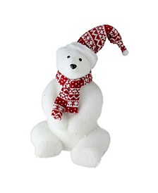 "12"" Glitter Polar Bear in Nordic Hat and Scarf Decoration"