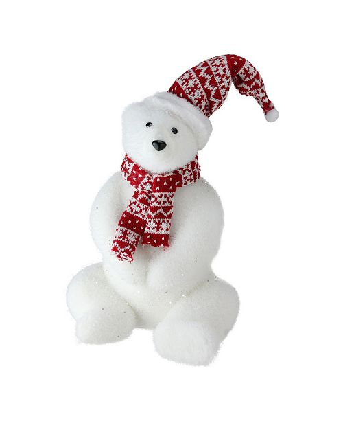 """Northlight 12"""" Glitter Polar Bear in Nordic Hat and Scarf Decoration"""